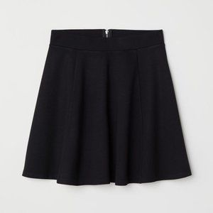 H&M Divided Black Zip Up Skater Skirt